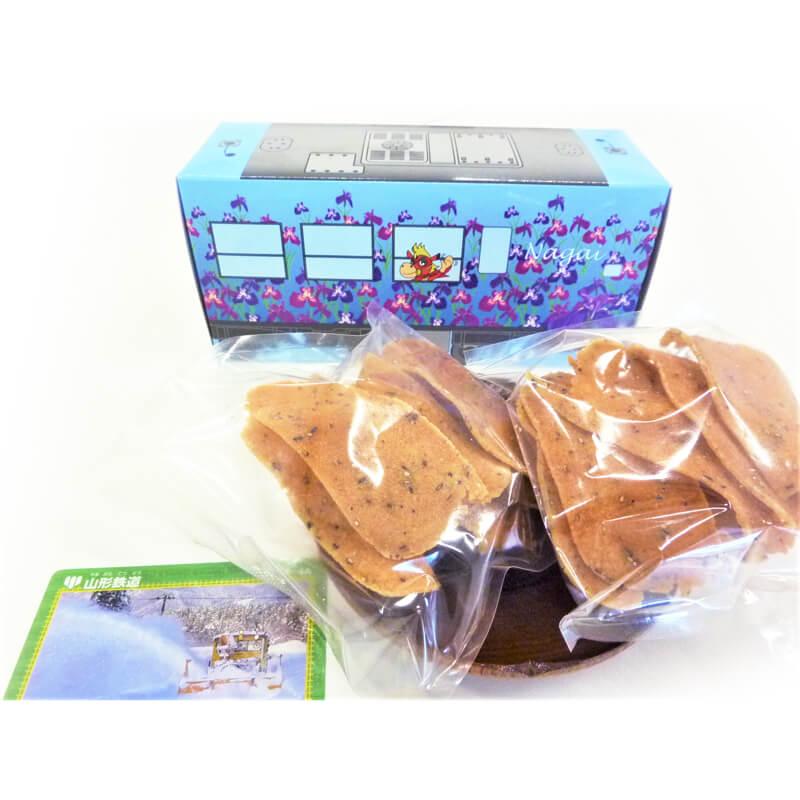 ラッピング菓子あやめ号(棒せんべい2袋・鉄カード1枚入)イメージ